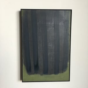 Vertical black on black stripes on green by MaryAnn Puls