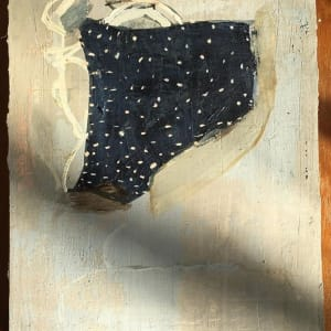 Blue shape with small white dots by MaryAnn Puls