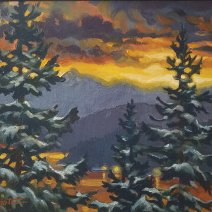 """Snow Day - dawn"" view from the Studio by Jan Poynter"