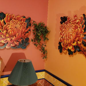 LIVE EDGE  Chrysanthemum RED #1 by Jan Poynter