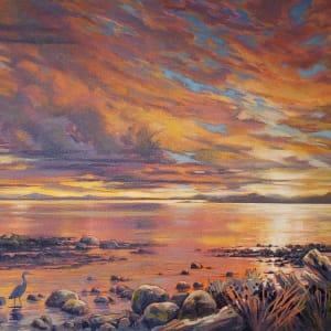 Chaster memories- heron sunset by Jan Poynter