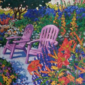 """Pink Chairs – Red lilies"" Granthams Landing BC by Jan Poynter"