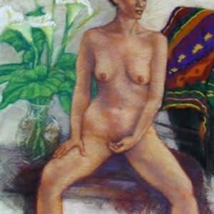 Woman with Callas by Merrilyn Duzy