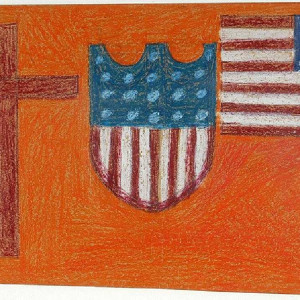 American Flag & Shield with Cross