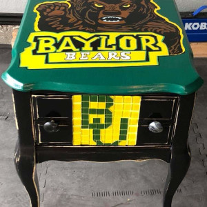 Baylor University Antique side table by Heather Medrano