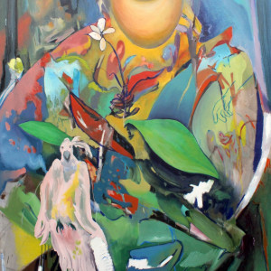 Tropical reach oil and oil stick on canvas 72 x48  2019 wvtcvo