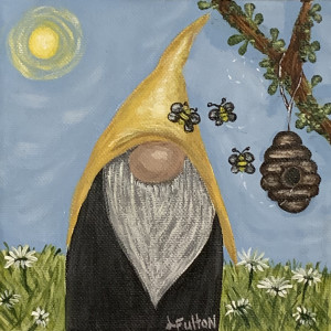 Summer gnome with bees and daisies
