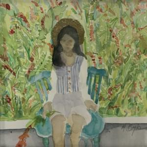 Blue chair and monbretia