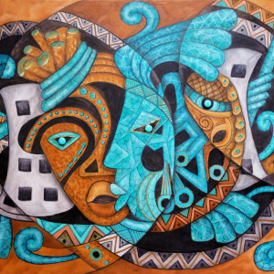 Maruvian Turquoise, Copper and Silver Masks by Marcella Hayes Muhammad