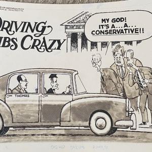 Driving #Libs Crazy (Bush Sr. driving Justice Thomas) by Steve Kelley