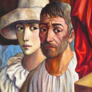 """Old Man with Harlequin"" by Antonio Diego Voci #C5 by Antonio Diego Voci"