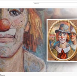 """""""Clown with Hat"""" #C91 (Oval Frame)by Antonio Diego Voci by Antonio Diego Voci  Image: HERE COME THE CLOWNS by Stephen Max 2020"""