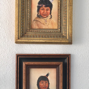 Native American Children (4 mini paintings) by Sandra (Fraser) Dust by Sandra (Fraser) Dust