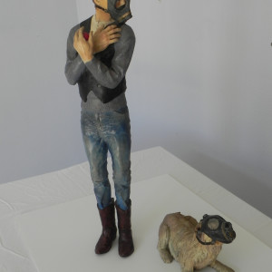 """""""Artist with Dog wearing Gas mask"""" by Leslie Ford by Leslie Ford"""