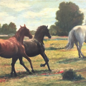 """""""Horses in Pasture"""" #C13 (Pferde auf Weide) by Antonio Diego Voci by Antonio Diego Voci"""