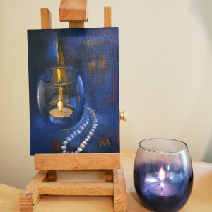 Candle and Pearls - Oil Painting in Silver Frame by Monika Gupta