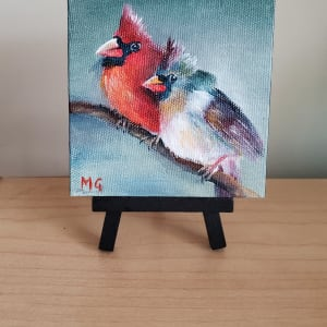Mini Canvas - Pair of Cardinals by Monika Gupta