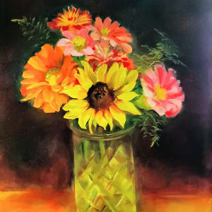 Colors of Life - Floral Oil Painting in Golden Frame by Monika Gupta