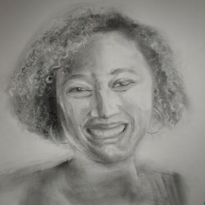 Portrait in Graphite - Amber by Monika Gupta