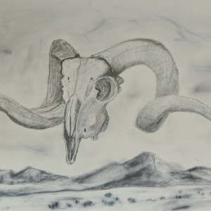 Ram Skull and Hills by Cate Crawford and Wilson Crawford