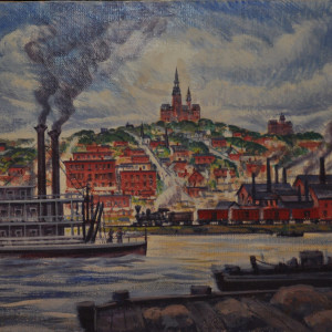 Omaha Waterfront During the 1870's                          1954 by Eugene Kingman