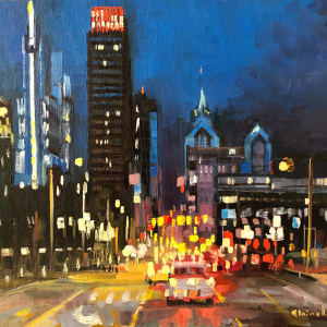 City Hubbub at Night by Elaine Lisle