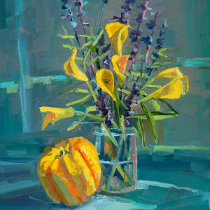 Trumpet bush with gourd by Elaine Lisle