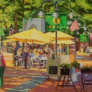 Yellow Umbrellas Downtown by Elaine Lisle
