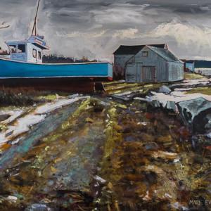 Blue Boat, Briggs Beach, Nova Scotia by Mark Brennan