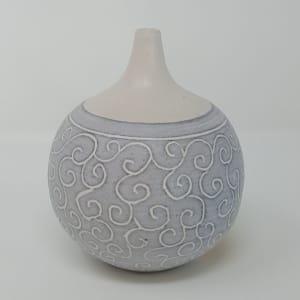 BRI050, Grey Carved Bottle by Jane Bridger