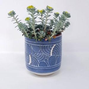 BRI051, Grey Carved Yunomi by Jane Bridger