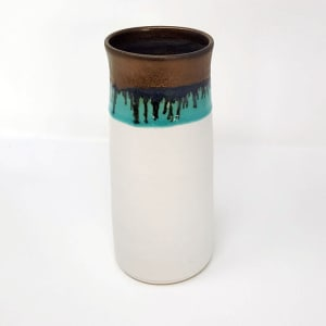 BRI053, White and Gold Vase by Jane Bridger