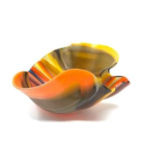 SHI324, Small Orange Drape Bowl by Hilary Shields