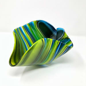 SHI325, Medium Blue Drape Bowl by Hilary Shields