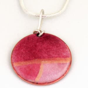 MCA164, Round Multi Pink Enamel Pendant by Anne McArdle