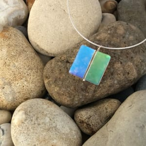 """PAX401, Square DAZZLE GLASS GEMS 18"""" Pendant Necklace by Hildegard Pax - Jewellery"""