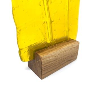 SHI314, Yellow Fern in oak block by Hilary Shields