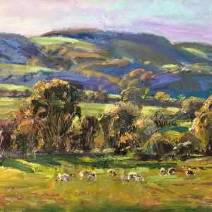 Fknight sheepon the downs octber afternoon oil on panel 30x40cm vcyhlu