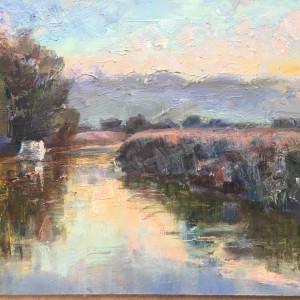 Fknight october morning river arun oil on panel 30x40cm ka0oia