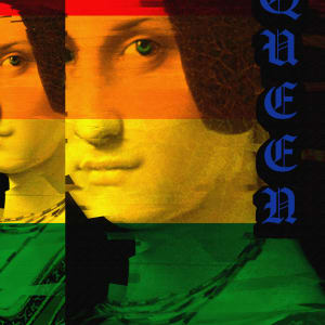 RAINBOW QUEEN: MANIPULATED GRAPHIC DESIGN PRINTED ON METAL by judith angerman