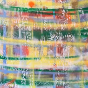 L. A. Plaid: Framed Spray Painted Graffiti on canvas by judith angerman
