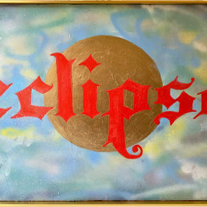 ECLIPSE: A FRAMED URBAN SPRAY PAINTING WITH OIL PAINT ON CANVAS by judith angerman