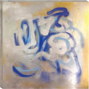 BLUE TAGGED SPRAY PAINTING WITH GOLD AND SILVER METALLICS by judith angerman