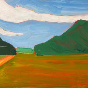 Trailhead at the farm with orange by Jessica Singerman