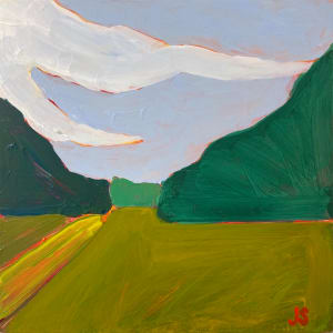 Trailhead at the farm with yellow by Jessica Singerman