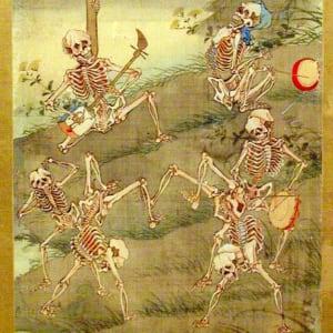 Frolicking Skeletons by Kawanabe Kyosai
