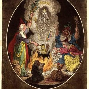 A Phantasmagoria: Scene- Conjuring Up an Armed Skeleton (1) by James Gillroy