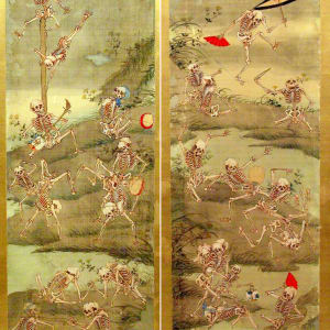 Frolicking Skeletons by Kawanabe Kyosai