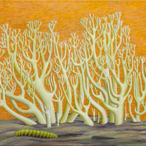 Coral Mushrooms with Caterpillar by Jane Troup
