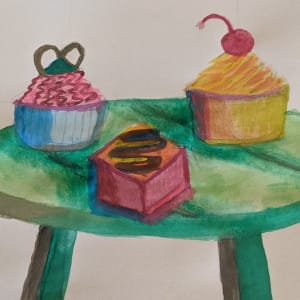 'High Tea' Workshop in the style of Wayne Thiebaud by Exhibition 2021 Completed